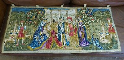 Beautiful Vintage Medieval Scene Wall Hanging Tapestry Type Panel Gold Thread