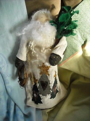 "primitive country cloth santa claus doll christmas decoration decor 13"" white"