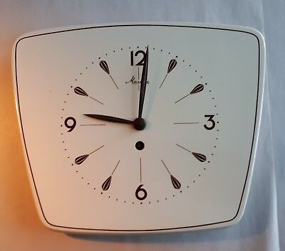 Vintage 1950s MAUTHE Wind-Up Ceramic Wall Clock. Cream & Brown. FWO. Home
