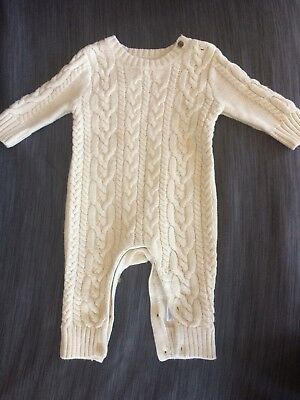 Gap baby cable knit one piece cream 3-6 months
