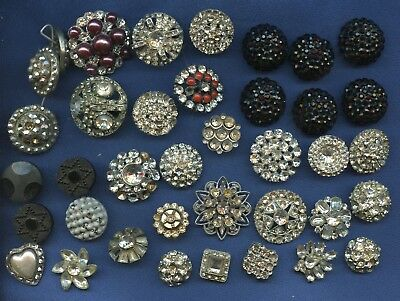 lot of vintage sewing buttons rhinestones glass etc as is over 3 dozen