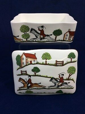Vintage Crown Staffordshire Hunting Scene China Trinket Box Horse Lovers