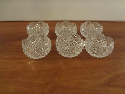 "Vintage round pressed cut glass open salt cellar lot of 6 2 ""across"