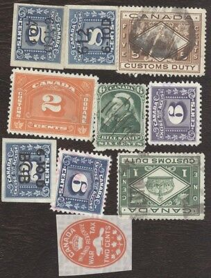 Revenue Stamps Canada # various Revenue, lot of 10 used stamps.