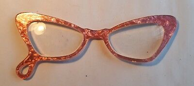 Unusual 1950s Ladies Pendant Pink Winged Spectacles. General Magnification. VGC