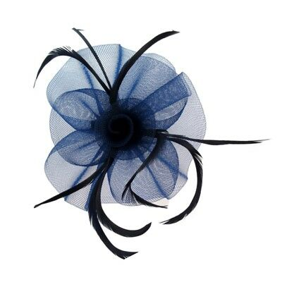 Ruffled Flower and Feather Hair Beak Clip Brooch Corsage Fascinator Bridal
