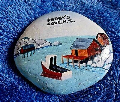 Peggy's Cove Harbor, PAINTED STONE paper weight, Nova Scotia Canada
