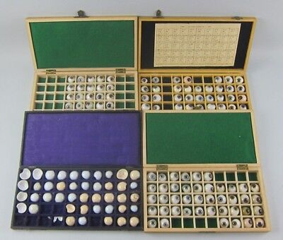 Lot of 143 Antique Prosthetic Glass Eyes Many Colors w/ Veins in Cases + Extras