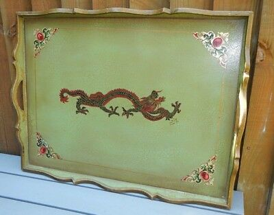 Old Decorative Wooden Gallery Tea Tray~Shabby Chic Green~Gilt Dragon Decoration