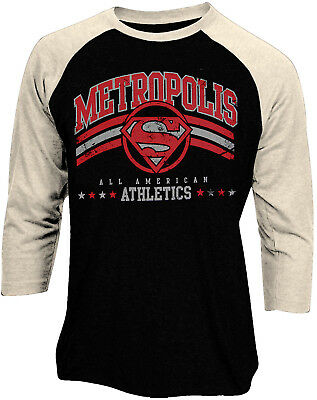 Official Superman Metropolis Athletics Logo Baseball Shirt New DC Comics