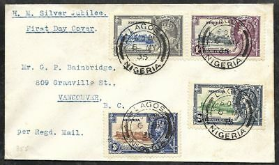 NIGERIA 1935 Silver Jubilee Set Registered FDC Lagos to British Columbia Canada