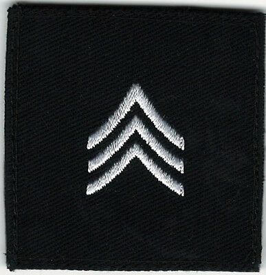 "2"" x 2"" Black White E-5 E5 SGT Sergeant Rank Insignia Patch VELCRO® BRAND Hook"