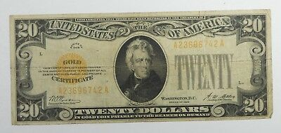Series of 1928 $20 Gold Certificate Note FINE Condition Note  Fr#2402