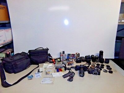 2 Canon T50 Cameras, 7 Lenses, 2 Cases, Film, Many Accessories Bundle FREE S/H!