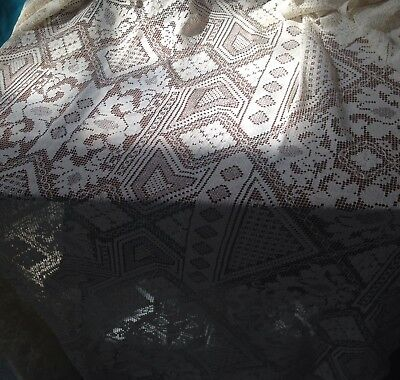 "Vintage  BOBBIN LACE ? Tablecloth, 62"" X 78"" Rectangle Ecru Off White"