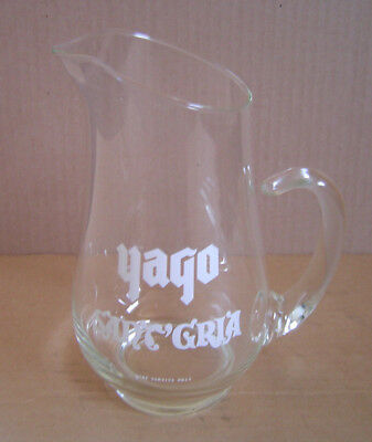 "Vintage Yago Sant'Gria 9"" Clear Glass Wine Pitcher Bar Display Liquor Advert."
