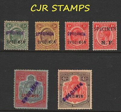 NYASALAND SPECIMEN OVERPRINTS ON VARIOUS (6 x STAMPS)  -  ODD FAULT
