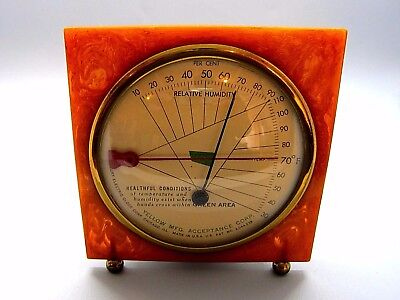 Vintage Art DECO Thermometer/humidity meter swirl CATALIN and brass gorgeous con