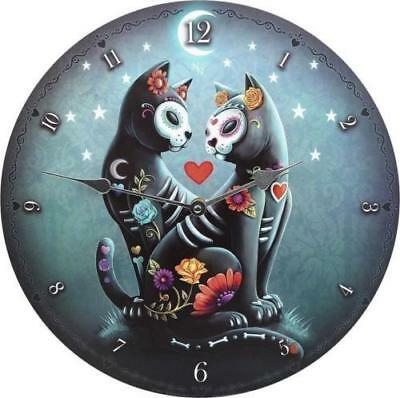 Wall Clock Day Of Cat Analogue Wooden Quartz Powered Fantasy Gothic Hanging