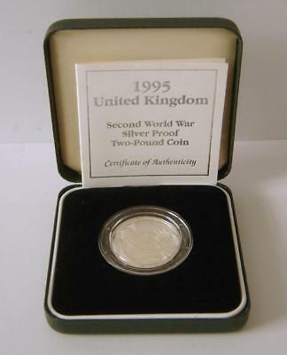 A 1995 United Kingdom Second World War Silver Proof Two Pound Coin With COA