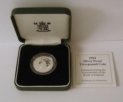 A 1994 United Kingdom Tercentenary Bank Of England Silver Proof Two Pound Coin