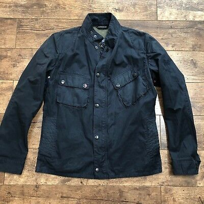 Men's Barbour International ISDT Steve McQueen Washed 9665 Navy Wax Jacket Large