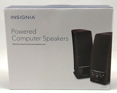 Insignia Powered Computer Speakers Front Volume Control Headphone Jack New [RP]
