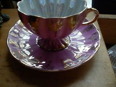 Shafford Hand Decorated Japan FOOTED  Tea Cup Luster Ware HOT PINK  Gold VTG