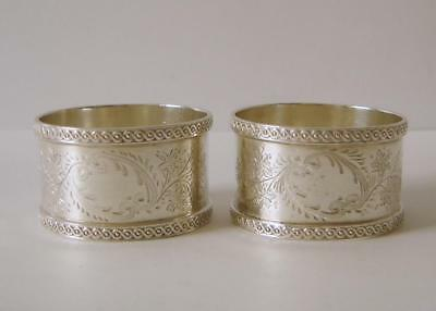 A Pair Of Ornately Engraved Antique Sterling Silver Napkin Rings Sheffield 1918