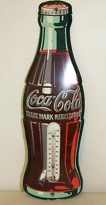 """Vintage 1950s COCA-COLA Metal Advertising THERMOMETER, Bottle-Shaped, 17"""" tall"""