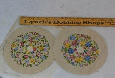 needle point petit point miniature 5 in. floral round pair  doll house antique