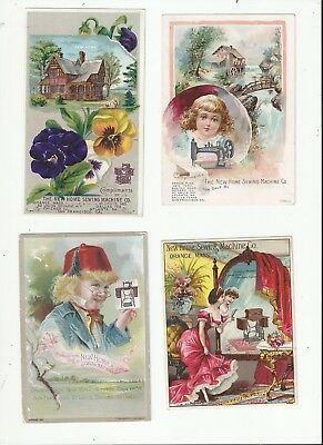 Lot Of 4 New Home Sewing Machine Co Victorian Trade Cards