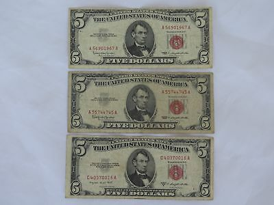 1953 B & (2) 1963 U.S. $5 Five Dollar Red Seal Notes (3 Pieces Total)