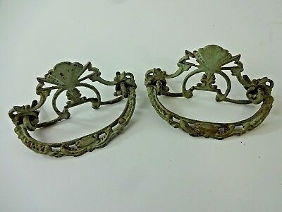 2 Antique Victorian Eastlake ? Brass Ornate Drawer Pulls Architectural Salvage
