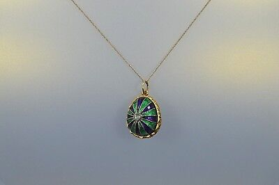 Exquisite Sterling Silver Gold Over Painted Enamel EGG Pendant/Charm #M