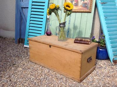 Large Antique Pine Chest Victorian Storage Blanket Box Coffee Table Rustic Chic