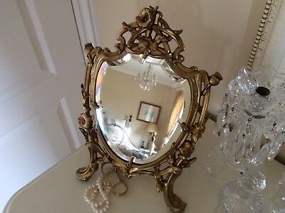 Antique Art Nouveau Ornate French Gold Gilt Dressing Table  Mirror