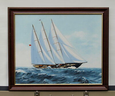 Oil Painting On Board Of The Yacht Creole