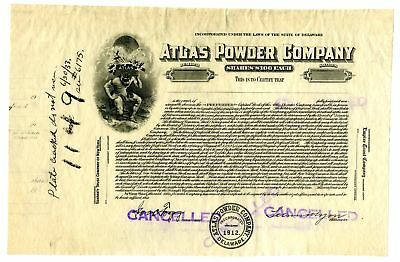 Atlas Powder Co., 1912 Proof Stock Certificate Plate Cancelled in 1933 Rare