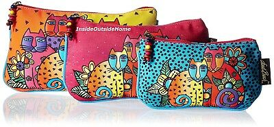 Laurel Burch Cat Feline Clan Makeup Bags 3pc Organizer Set + Tie String NEW