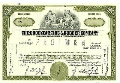 OH. Goodyear Tire & Rubber Co 1979 Specimen <100 Shrs Stock Cert XF ABN Ol.green