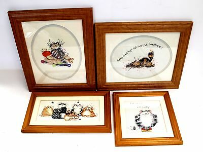 Collection Of x4 Quirky CAT Embroidered CROSS-STITCHES / FRAMED - S79