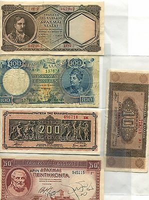 Greece Bank-Notes Old Currency Collection 1944 1941 Plus  9 Better  Notes Look