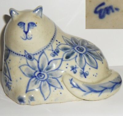 Delftware Cat Figurine Signed Blue and white ceramic