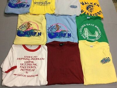 Lot Of 10 Novelty Vacation Vintage 80S 90S Soft T-Shirts Adult Xl Hanes, Stedman
