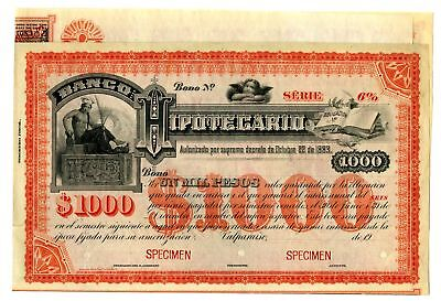 Valparaiso, Chile. Banco Hipotecario, ca.1900-1910 Specimen Coupon Bond 1000 Ps