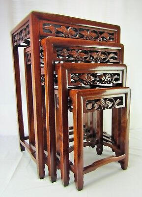 """Set of (4) Antique Chinese Carved Rosewood """"Nesting"""" Tables - Circa 1920"""