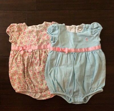 Lot Of 2! POLO RALPH LAUREN Girl's Knit Bubbles One Piece W/ Bow 18 Months