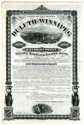 MN. Duluth and Winnipeg Railroad Co., 1881 Partly Issued $1000 Coupon Bond ABN