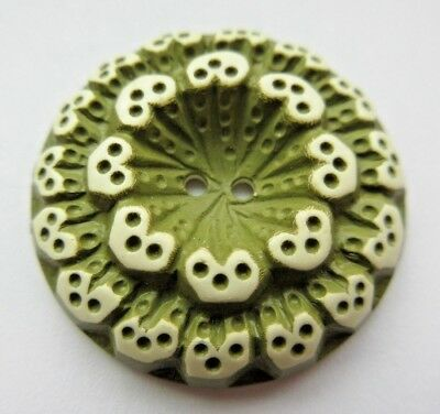 Lovely Antique~ Vtg Buffed Celluloid Early Plastic BUTTON Sage Green Unique (K4)